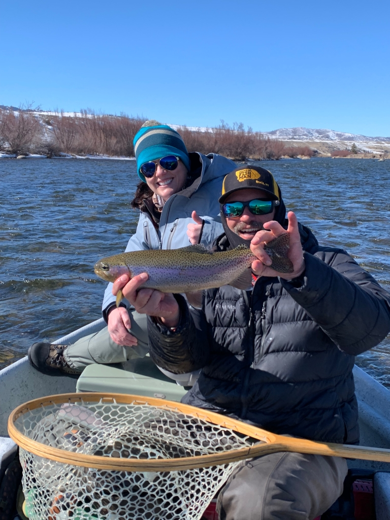 Chunky Madison River rainbow trout caught on during one of Montana Fish Mans first few guide trips of the year. New anglers to Montana get to see the first days of spring.